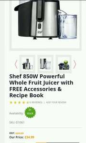 Shef 850w Juicer £34.99 @ domu