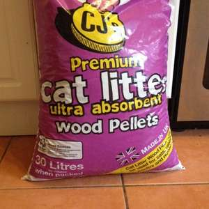 Cat litter wood pellets 30 litre bag (also for rabbits etc) £5.49 @ B&M