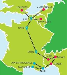 Bus travel from London to Lille single from €9 and other destinations in France & Italy using French version of UK Megabus.   ( a wee change from Tesco deals)