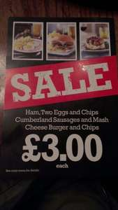 Stonegate Pubs offer on food - £3 for three meals - matching Wetherspoons