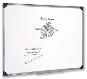 5 Star Whiteboard Drywipe Magnetic with Pen Tray and Aluminium Trim W900xH600mm £22.50  Sold by Pitts Presentation Products Ltd and Fulfilled by Amazon