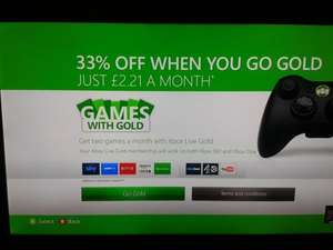 12 Months Xbox live gold for £26.50 on Xbox Dashboard