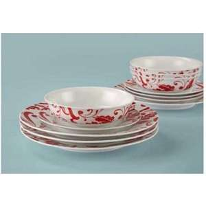 Porcelain Home of Style Deconstructed Damask Dinner Set - Red - 12 Pieces  NOW £8.69 @ HOMEBASE, FREE CLICK & COLLECT