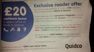 Join Quidco and get £20 cashback on ANY purchase from M&S online - CONFIRMED - READ FULL POST