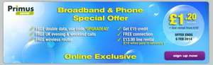 40GB broadband and phone (includes free line installation + £15 credit) - Primus - from £11.20 per month