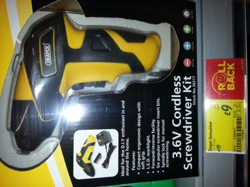 Draper 3.6v cordless screwdriver with bits £9 @ asda direct