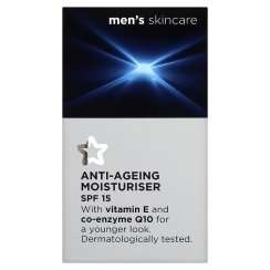 Superdrug Men's Q10 & Vitamin E Anti-Ageing Moisturiser SPF15 50ml, Half Price £2.49, Online & instore