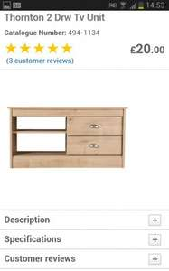 Thornton range tv stand at tesco direct only £20 + £3 delivery or free click and collect