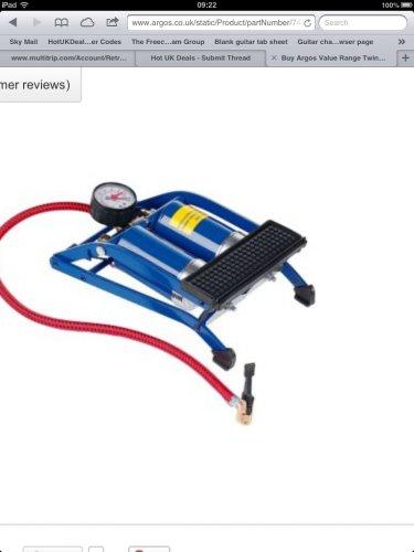 Argos Value Range Twin Cylinder Foot Pump. Was £9.99 now just £2.99 or single pump £1.99 @ Argos free R&C