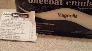 One coat emulsion magnolia or white 3.99 home bargains 2.5 litres