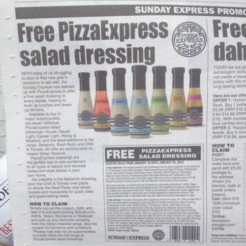 Free Pizza Express Salad Dressing Voucher - Expresss on Sunday @ Tesco, ASDA, Morrisons, Sainsbury's & Waitrose