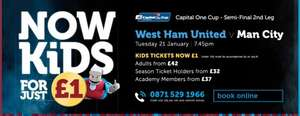 Kids for £1 West Ham vs Man City (21 Jan) and West Ham vs Swansea (1 feb) with paying adult @ west ham united online and telephone.