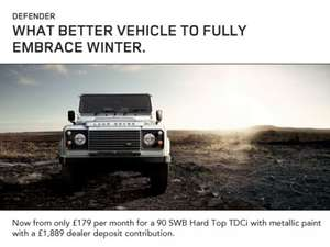 Land Rover Defender 90 SWB Hard Top TDCI  £179 per month with dealer contribution of £1889