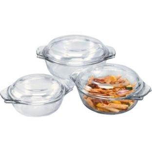 3 piece Pyrex casserole dishes with lids. Argos - £8.99