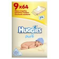 9 Pack  Huggies Pure Baby Wipes @ Tesco  £6.86 was £10.29