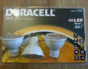 Duracell 3 pack GU10/SES Candle Led Bulbs £5 Instore @ Asda