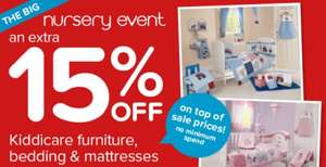 Kiddicare 15% off no minimum spend - Nursery Event!