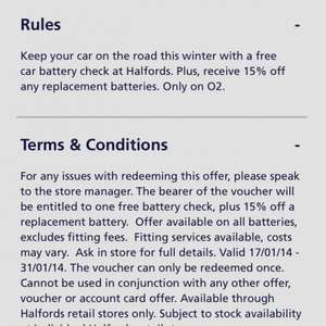 O2 proirty Halfords free car battery check + 15% off replacement batteries