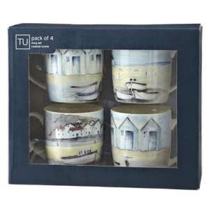 Sainsburys set of 4 Coastal mugs porcelain dishwasher safe 70% off - £4.50 instore