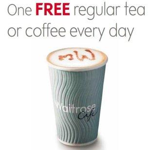 free coffee or tea at waitrose everyday
