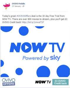 OVIVO Customers - Sign up for 30 day Free Trial from NOW TV and get FREE £3 OVIVO Credit back