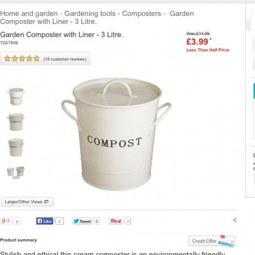 Cream compost bin from Argos £3.99