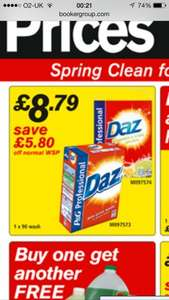 Daz 90 wash washing powder  £8.79 inc vat @bookers wholesaler