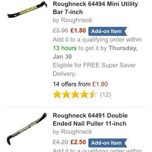 Between 30% and 60% off roughneck wrecking / gorilla / nail pulling / bonsai claw / wrecking bars from £1.80 at amazon (some add on some not... All average 5 star reviews)