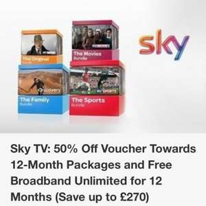 Half price SKY TV and FREE unlimited broadband for 12 months! @ Groupon