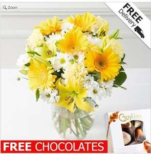 13 stem yellow flowers £14.99 with free delivery & chocs @ Debenhams flowers