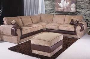 Milan Jumbo Cord Corner Sofa (£599) Plus Footstool (£699) With Free Delivery (54% Off) @ groupon