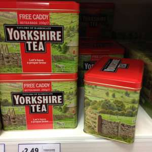 Free tea caddy when you buy Yorkshire tea. - £2.49 @ Tesco
