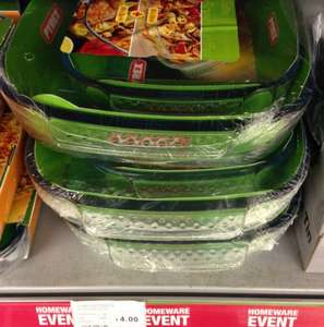 2 Pyrex dishes (39cm x 25cm & 30cm x 20cm) £4 at the co-op