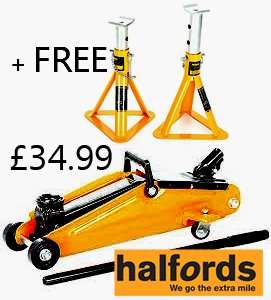 HALFORDS 2 Ton Trolley Jack + FREE Axle Stands £34.99