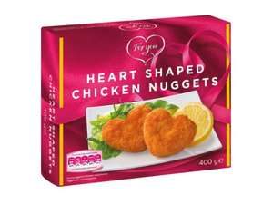 ROMANTICS, blow her away: heart shaped chicken nuggets: £1.99 Lidl in store