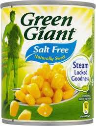 Green giant sweetcorn large tin no salt added £6 for 12 tins case at costco