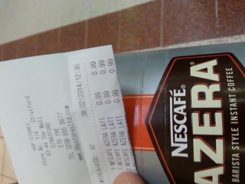 Necafe azera latte 6 sachets £0.99 @ 99p stores