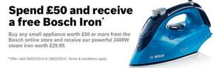 Spend £50 at Bosch and get a free £30 iron.