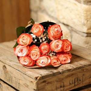Valentine's Day Flowers - Coral Roses - Delivered £15.99, £14.38 TCB @ FlowerFete