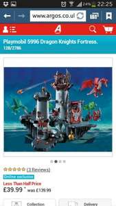 Playmobil 5996 Dragon Knights Fortress Was £139.99 Now £39.99  @ Argos