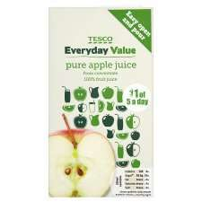 Tesco everyday value apple juice 16p per litre