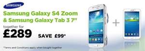 "Samsung GALAXY S4 Zoom & Samsung Galaxy Tab 3 - tablet - Android 4.1 (Jelly Bean) - 8 GB - 7"" for 289 @ ASDA"