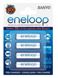 SANYO Eneloop AAA Ready-To-Use Ni-MH Batteries 750 mAh - Pack of 4 - £2.16 (Add-On Item) @ Amazon