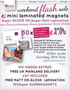 Weekend Mini Magnet Flash Sale. 50 magnets with your own photos for only £4.99. Sense Creative.