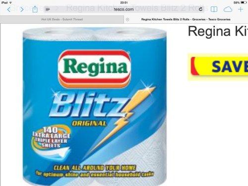Regina blitz kitchen towel 2 pack £2 at tesco