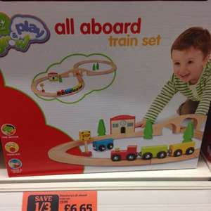 All aboard wooden train set,  £6.65 @ Sainsburys
