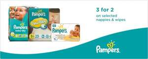 3 for 2 on Pampers nappies @ Boots
