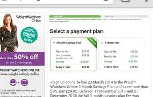 Weight watchers 3 month plan half price, possibly free with first time sign up through top cash back