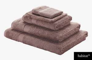 Habitat 100% Egyptian Cotton Face Cloths (from 53p) and Towels (from £2.43) in Taupe/Purple/Pink @ Homebase