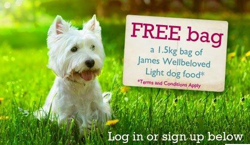 Free 1.5kg bag of James Wellbeloved light dog food